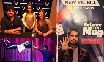 Here is a picture of my daughter Lily (in top left image of the composite photo) between Jason Bishop magician and his assistant Kim Hess taken after the magic show at the New Victory Theater.